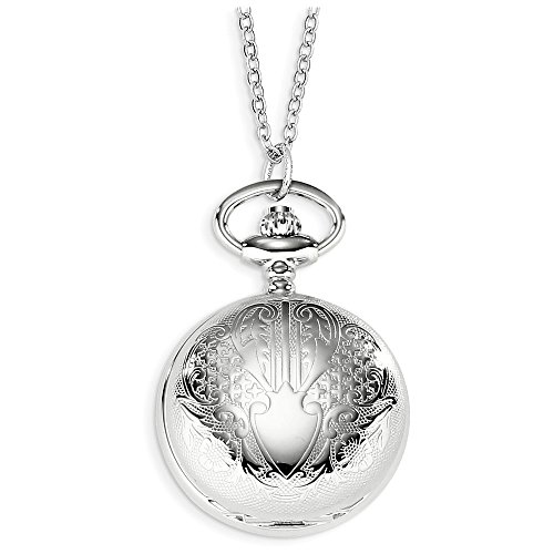 Jewelry Adviser Charles Hubert Watches Charles Hubert Chrome-finish Floral Design Pendant Watch