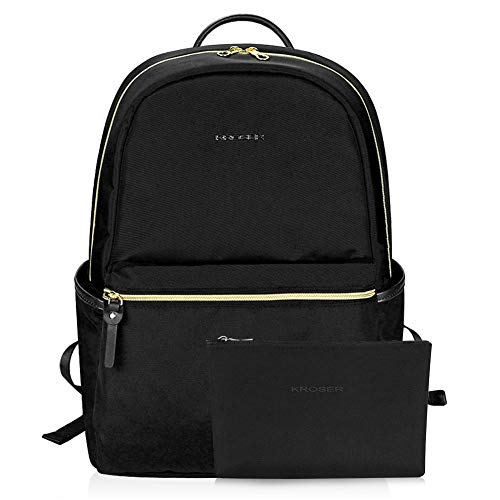 KROSER Laptop Backpack 15.6 Inch Upgraded Computer Backpack Fashion School Backpack Laptop Bag Water-Repellent Nylon Casual Daypack with USB Charging Port for Travel/Business/College/Women/Men-Black - Leather Belt Inner Padding