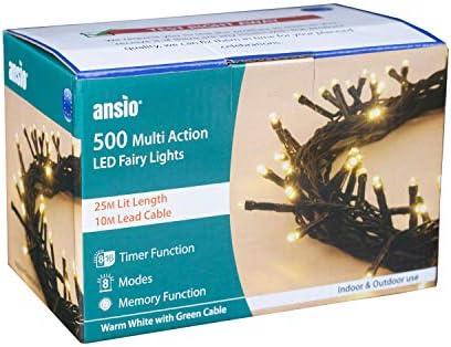 ANSIO Luci natalizie 500 LED Colore Bianco caldo Luci per alberi di Natale da interno/esterno, lucine, luci natalizie/feste/decorazioni 25 m Lunghezza illuminata 10 m- Cavo verde