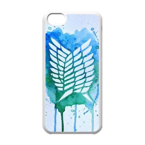 Attack On Titan coque iPhone 5C Housse Blanc téléphone portable couverture de cas coque EBDOBCKCO14168