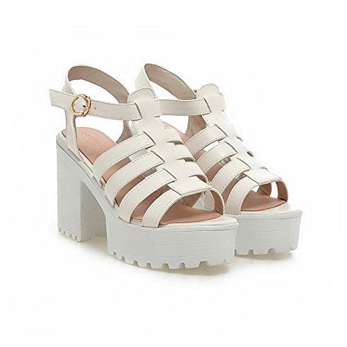Adee Cuff Sandals Ladies Solid Platform Polyurethane White Ankle qgaUHvZq