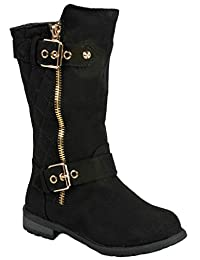 JJF Shoes Kids Girls Mango21 Dual Buckle/Zipper Quilted Mid Calf Motorcycle Boots