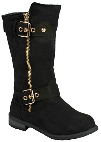 [Kids Girls Mango23 Black Faux Suede Dual Buckle Zipper Quilted Mid Calf Motorcycle Boots-4] (Black Kids Boots)