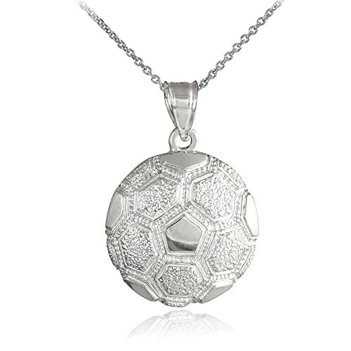 14k White Gold Sports Charm Textured Soccer Ball Pendant Necklace, ()