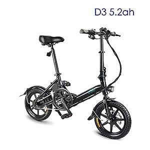 41UBBTIWawL. SS300 Mysticall Bicicletta elettrica pieghevole per adulto, E-bike, Scooter elettrico 14 pollici con faro a LED, Bicicletta elettrica pieghevole da 7.8Ah con freno a disco, fino a 25 km/h (D3 5.2ah NERO)