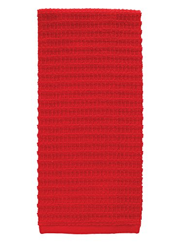 "T-fal Textiles Solid Waffle 100% Terry Cotton, Highly Absorbent, Anti-Microbial, Oversized Kitchen Towel, 16"" x 28"", Red"