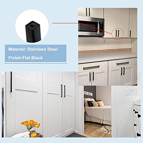 5Pack Goldenwarm Black Square Bar Cabinet Pull Drawer Handle Stainless Steel Modern Hardware for Kitchen and Bathroom Cabinets Cupboard, Center to Center 5in(128mm) by goldenwarm (Image #6)