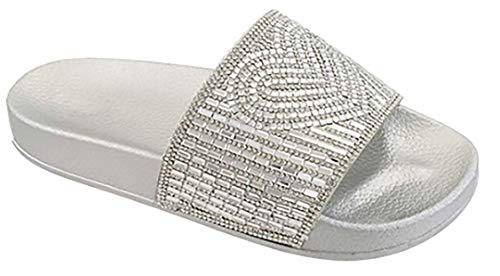 Babe Women's Rhinestone Heart Design Slip-on Wide Band Flip-Flop Sandal (6, Silver)