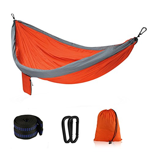 Vishusju Outdoor Double Camping Hammock Tree Straps Carabiners Lightweight Parachute Hammock Rated 600 LBS 118″ x 78″ 2 Persons Backpacking Hiking (Grey/Orange) Review