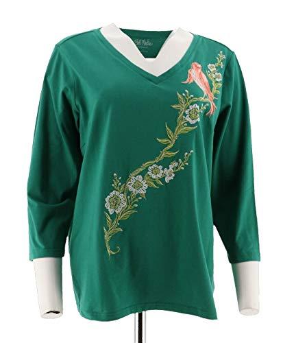 Bob Mackie Embroidered Song Bird V-Neck Knit Top Emerald M New A292323 Bob Mackie Embroidered Blouse