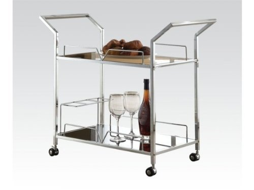 Serving Cart Chrome Finish by Acme Furniture by Acme Furniture by Acme Furniture