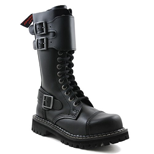 Army Steel Angry Buckle Itch Donna Punk Cap Pelle Double 14 Boots Fori Unisex Uomo Nero Military Rangers pZx1pOqw