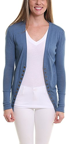 Pier 17 Womens Sweaters Long Sleeve, Button Down Cardigan - Casual Slim Made From Soft, Comfortable - Durable and Stretchy Fabric Matches Your Body Type (1XL, Blue) - Jeans Women Sweaters Cardigans