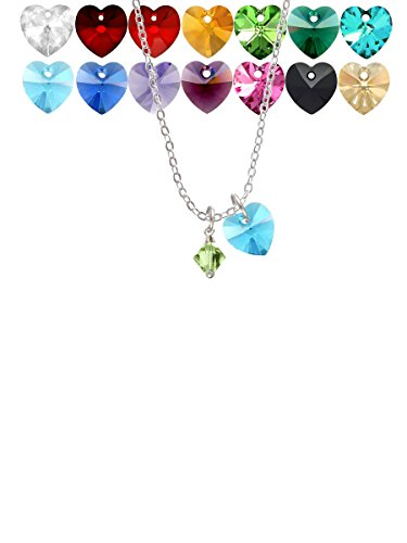(August - Lime Green - 6mm Crystal Bicone Custom Crystal Heart Sophia Necklace, 18