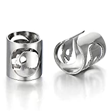 2pcs Mens Womens Stainless Steel Ear Cuff with Skull Ear Clip Non-Piercing Clip On Earrings