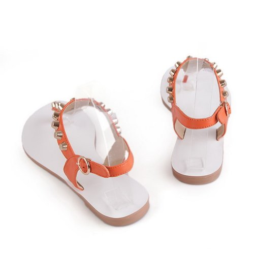 Womens Toe M Cow B WeenFashion Leather Rivet Sandals US Orange with Open 5 5 Leather Solid Embossed wTUqdAq