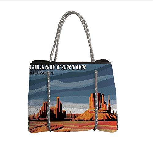 iPrint Neoprene Multipurpose Beach Bag Tote Bags,House Decor,Major Canyon Fantastic Shadows and Contrasts with Digital Added Dimesions,Blue Orange,Women Casual Handbag Tote Bags -