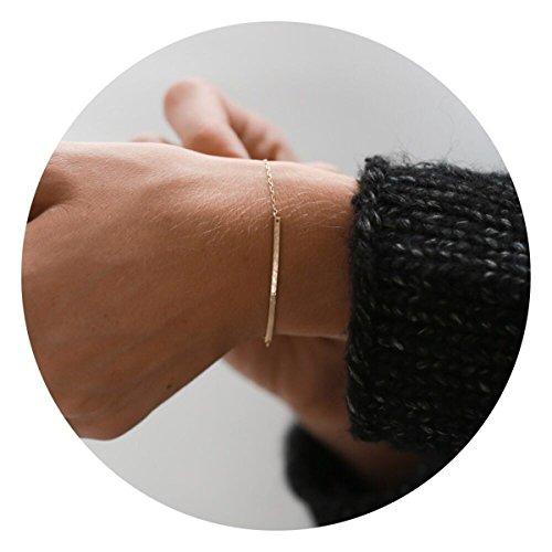 Befettly Long Line Bar Bracelet Modern Bar Bracelet Hand-Hammered or Smooth Finish • Long Line in 14k Gold Fill-BR1-Bar