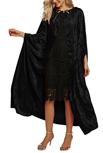 Urban CoCo Women's Costume Full Length Crushed Velvet Hooded Cape (Series 2-Black) -