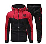 Jogging Full Tracksuit Hoodies Gym Contrast Fleece Joggers Set Tracksuit Top & Bottoms Set(Red-X-Small)