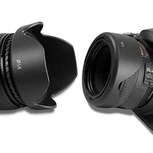 Reversible Lens Hood - 58MM Reversible Flower Lens Hood (2013 Update) for Canon EOS Rebel (T5i T4i T3i T3 T2i T1i XT XTi XSi SL1 650D 1100D 550D and More)