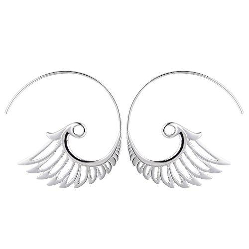 Spiral Hoop Earrings Stud Bohemian Vintage Tribal Swirl Style Adjustable Earrings Jewelry Set for (Adjustable Swirl)