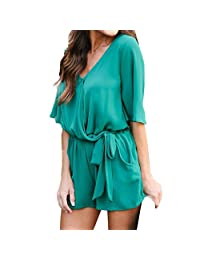 736043b55f57 Kingfansion Women Romper Half Sleeve Jumpsuit Playsuit Overall Shorts with  Pockets