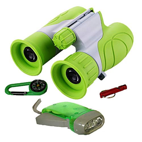 21 Compass - WenToyce Kids Outdoor Exploration Adventure Kit, with 8x21 Binoculars, Flashlight, Compass, Whistle; Bird Nature Watching, Hunting, Educational Learning Set for Toddler