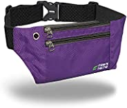 Slim Fanny Pack for Man Woman, 3 Individual Pockets Water Resistant Travel Waist Bag, Elastic Adjustable Belt