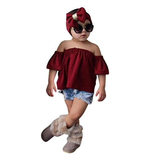 Conjunto Rope para bebe niña verano SHOBDW Hombro Camisa para Niñas sin tirantes blusa moda Tops para chica pantalones cortos+blusa +venda: Amazon.es: Ropa ...