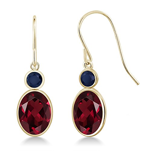 Gem Stone King 3.06 Ct Oval Red Rhodolite Garnet Blue Sapphire 14K Yellow Gold Earrings