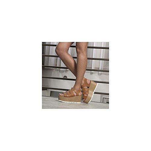 Ideal Shoes, Damen Sandalen Camel