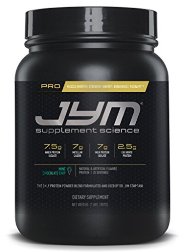 JYM Supplement Science, PRO JYM, An optimal Blend of Whey, Casein, and Egg Proteins, Mint Chocolate Chip, 2lb (Protein 2 Lb Chocolate Mint)