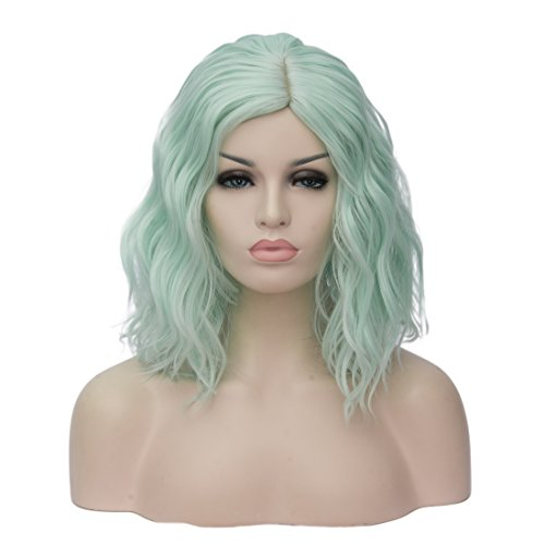 Costumes Wigs Online (TopWigy Women's Cosplay Wig Medium Length Curly Body Wave Colorful Heat Resistant Hair Wigs Costume Party Bob Wig+Wig Cap (Fluorescent Green))