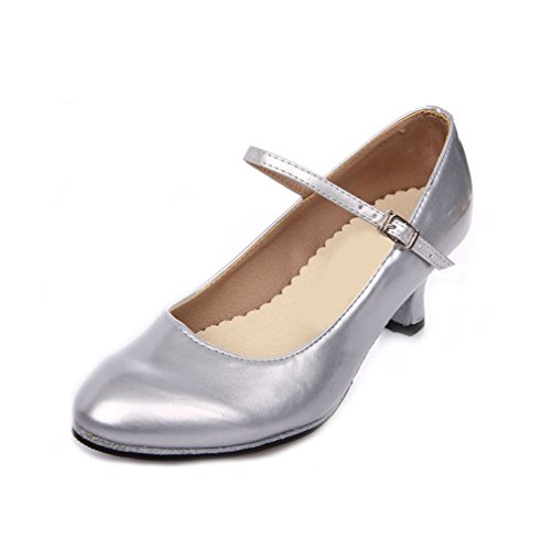 Dance Sandals Leather Strap BYLE Shoes Shoes Jazz Ankle Ms Modern Onecolor 5Cm Dance Latin Soft Adult Silver Bottom Samba 055dqr