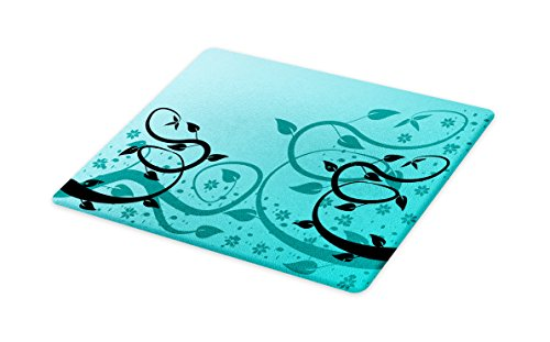 - Lunarable Teal Cutting Board, an Abstract Floral Modern Illustration with Winding Tendrils Leaves Vines and Flowers, Decorative Tempered Glass Cutting and Serving Board, Small Size, Black Teal
