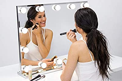 Hollywood Lighted Vanity Makeup Mirror with Bright LED Lights, Light-up Frameless Dressing Table Cosmetic Mirror with Dimmable Bulbs, Multiple Color Modes, Table-Top or Wall Mount