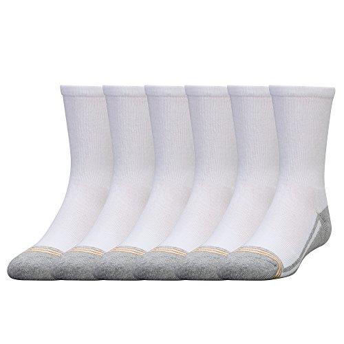 Gold Toe Big Boys' 6 Pack Athletic Crew Sock, White/Grey, - Boys Gold Socks
