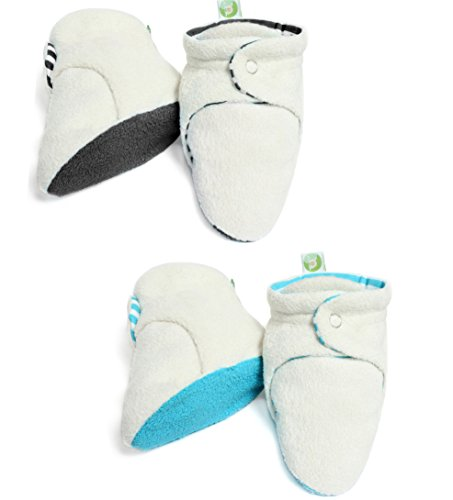 2 Pairs Set Unisex Soft Organic Cotton Baby Booties (3-6 months, Color 1) Toddler White Combo Footwear
