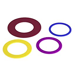 Eco-Friendly Silicone Rolling Pin Rings--4 set of 2 Band Set; Stretch Design; Guaranteed to Fit Standard Rolling Pin; by More Cuisine Essentials BG - 0401G