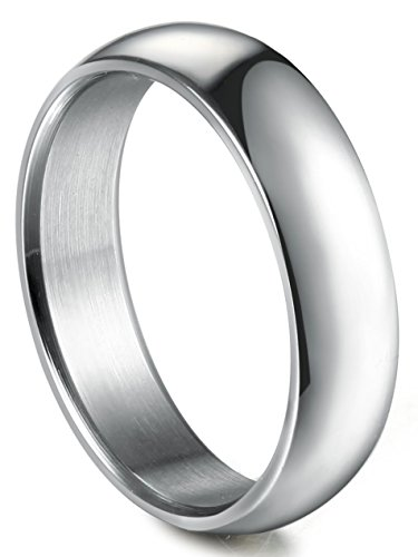 Besteel Womens Mens 5MM Stainless Steel Classic Plain Wedding Band Ring Polished Charm Size 9