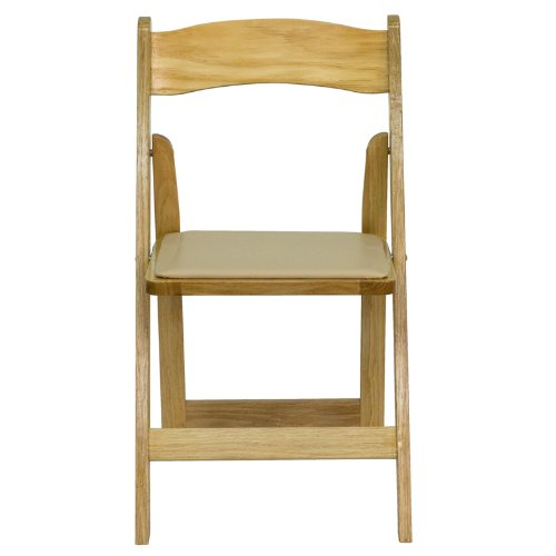 Flash Furniture HERCULES Series Natural Wood Folding Chair with Vinyl Padded Seat by Flash Furniture (Image #3)