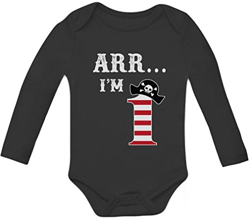 (ARR I'm 1 - Pirate Birthday Party Gift for One Year Old Baby Long Sleeve Bodysuit 12M Black)