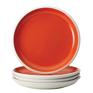 Rachael Ray Dinnerware Rise Collection 4-Piece Stoneware Salad Plate Set, Orange