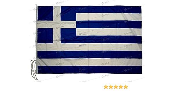 Bandera Grecia 150x100cm en tela náutico resistente al viento 115g/m², bandera de Grecia 150x100cm, bandera griega 150x100cm con cordón o mosquetones, doble costura perimetral y cinta de refuerzo: Amazon.es: Jardín