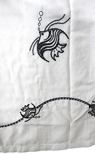 La Leela Designer gestickt Seefisch Strand Hawaii-weißes Hemd Männer XL
