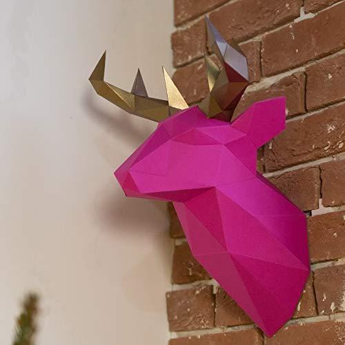 Live Origami Deer Trophy Head, 3D Head Wall Decor, Cardboard Deer Taxidermy Wall Mount, Fake Stag Animal Head Decor, DIY Papercraft Kit Pre-Cut & Pre-Folded