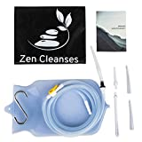 ZEN CLEANSE Enema Bag Kit – Reusable Home Enema Kit for Colon Cleansing, Gerson Therapy Coffee Enema, Colon Hydrotherapy, at Home Water Enema | Clear Silicon Enema Bag