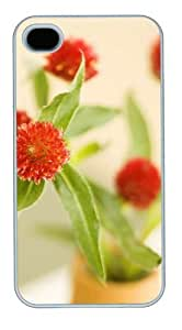 iphone 4 case coolest Red flower PC White for Apple iPhone 4/4S