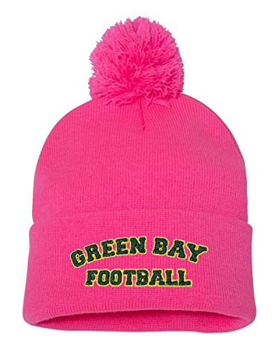 a2ae48114 Green Bay Packers Pom Hat. One Size Neon Pink Adult Green Bay Football  Embroidered Knit ...